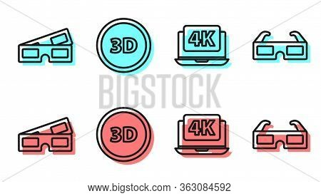 Set Line Laptop With 4k Video, 3d Cinema Glasses, 3d Word And 3d Cinema Glasses Icon. Vector