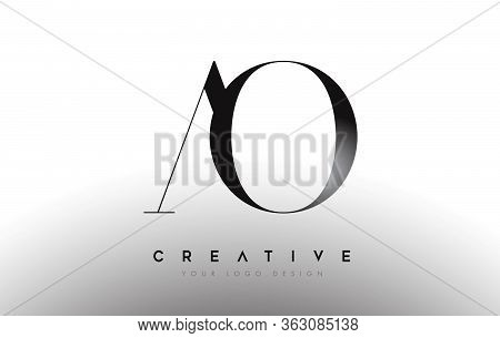 Ao Letter Design Logo Logotype Icon Concept With Serif Font And Classic Elegant Style Look Vector