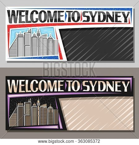 Vector Layouts For Sydney With Copy Space, Decorative Voucher With Illustration Of Contemporary Sydn