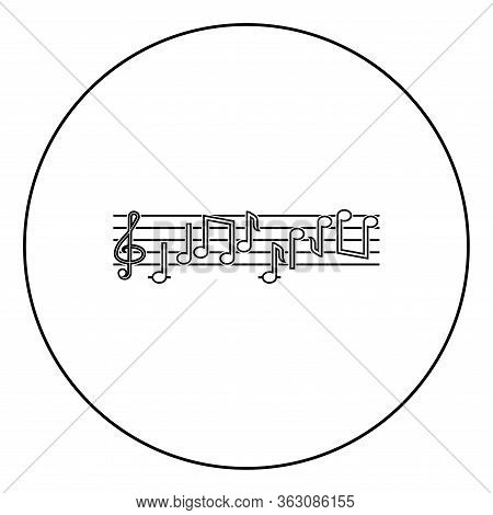 Note Fret Notes Icon In Circle Round Outline Black Color Vector Illustration Flat Style Simple Image