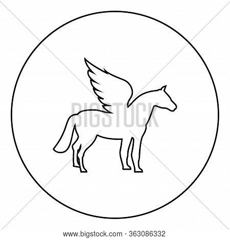 Pegasus Winged Horse Silhouette Mythical Creature Fabulous Animal Icon In Circle Round Outline Black