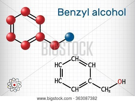 Benzyl Alcohol, C7h8o Molecule. It Is Aromatic Alcohol, Is Used As Local Anesthetic And In Perfumes,