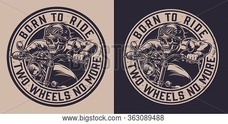 Vintage Motorcycle Monochrome Round Print With Letterings And Skeleton In Biker Helmet Riding Motorb