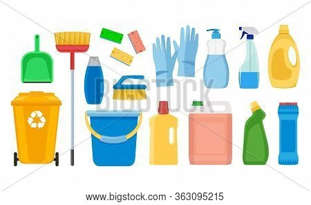 Cleaning And Cleaning Products For Cleaning The House. Rubber Gloves, Brush, Trash Can, Window Spray