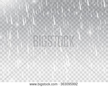 Rain On White Transparent Background. Realistic Falling Water Drops. Rainfall Texture. Rain Storm. R