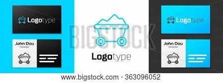 Grey Line Coal Mine Trolley Icon Isolated On White Background. Factory Coal Mine Trolley. Vector Ill
