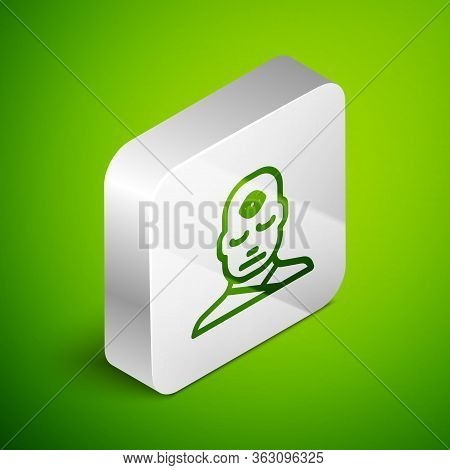 Isometric Line Man With Third Eye Icon Isolated On Green Background. The Concept Of Meditation, Visi