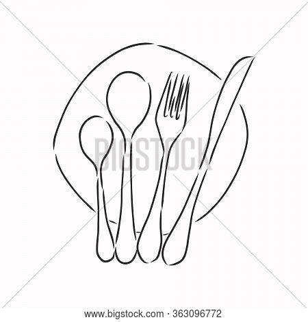 Rough Cutlery Illustration - Brown Handmade Illustration Of Cutlery Isolated On White Background. Cu