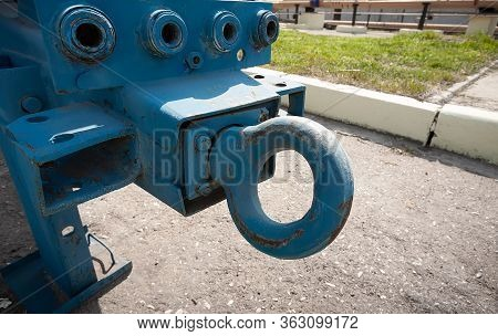 Rigid Hitch For Car Trailer. Close-up. There Are No People In The Frame