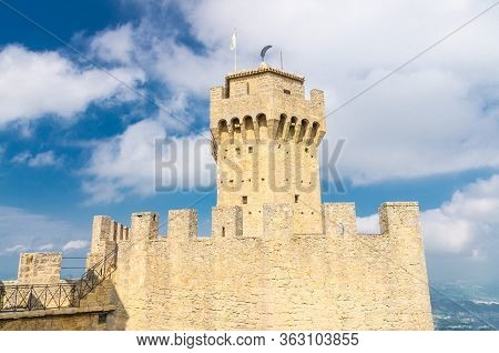 Republic San Marino, September 18, 2018: Seconda Torre La Cesta Second Fortress Tower With Merlons A