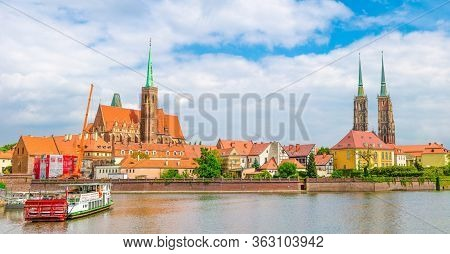 Wroclaw, Poland, May 7, 2019: Panoramic View Of Ostrow Tumski: Collegiate Church Holy Cross And St.