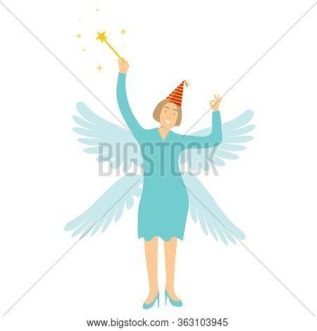 Magic Fairy. Fairytale Fairy With Wings And Magic Wand. Vector Illustration. Vector.