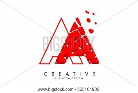 Letter Aa Design With Red Shattered Blocks And Monogram Vector Illustration. Aa Icon With Pattern. C