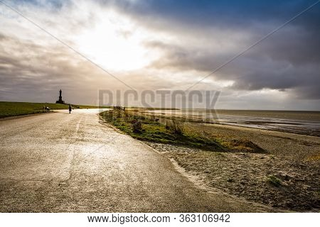 Coast Of Wadden Sea By Harlingen, Netherlands In Winter