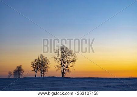 Sunrise near Hight Tatras in winter time, Slovakia