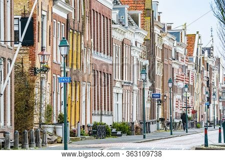 Harlingen, Netherlands - January 10, 2020. Zuiderhaven Street In Winter With Traditional Dutch House