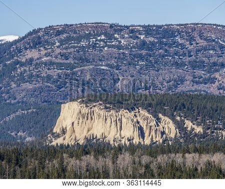 Hoodoos In Fairmont Hot Springs British Columbia Canada View From Distance Background.