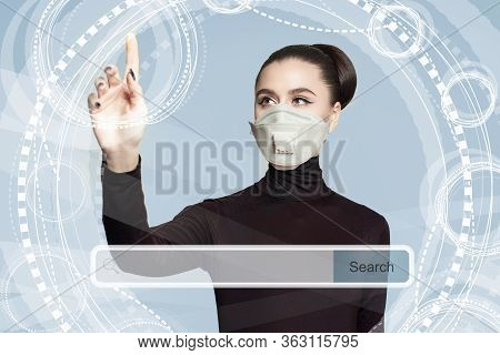 Young Woman In Medical Face Mask With Empty Address Bar On Virtual Screen. New Technology, Www And I