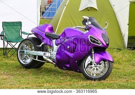 Moscow, Russia - July 6, 2012: Purple Customezid Motorbike Suzuki Hayabusa Presented At The Annual M