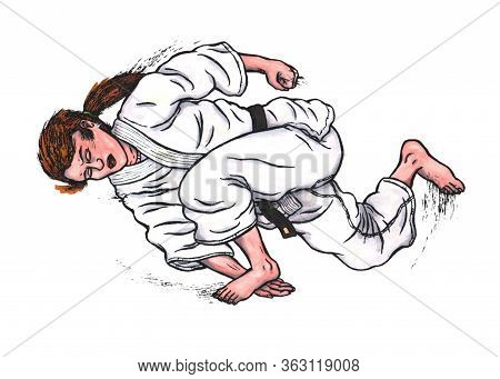 An Abstract Watercolour, Watercolor Painting Illustration, Showing A Female Karate Fighter Doing A K