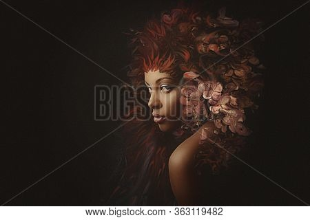 young black woman surreal portrait composite photo