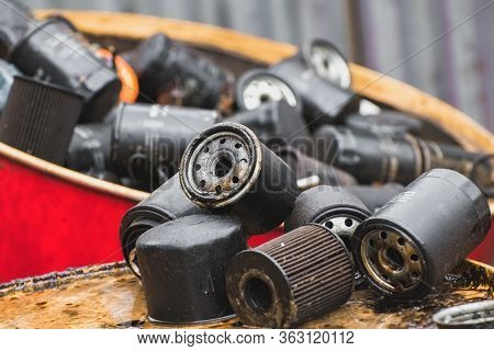 Group Of Old Oil Filters Of The Car With A Shallow Depth Of Field