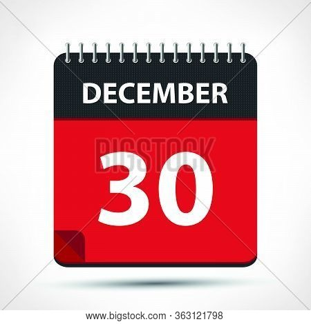 December 30 - Calendar Icon - Calendar Design Template
