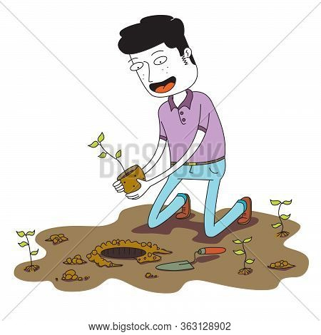 Man Plants A Small Plant On The Ground