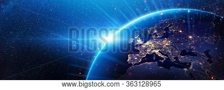 Planet Earth Europe from the Space at Night. Elements of this Image Furnished by NASA
