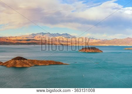 View Of Lake Mead From Sunset View Overlook. Lake Mead National Recreation Area. Nevada. Usa