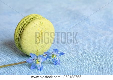 Pistachio Macaron And Spring Flower On A Linen Napkin. Macarons Or Macaroons Is French Or Italian De