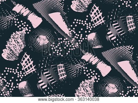 Vector Seamless Pattern With Hand Drawn Textured Brush Strokes, Stripes Hand Painted.
