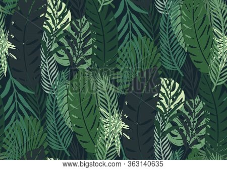 Seamless Pattern With Trendy Tropical Summer Motifs, Exotic Leaves And Plants. Greenish Colors.