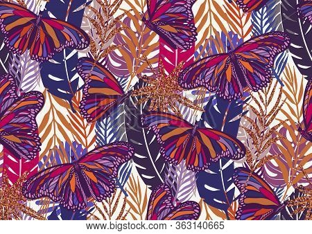 Seamless Pattern With Trendy Tropical Summer Motifs, Butterflies, Exotic Leaves And Plants.