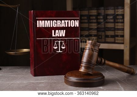 Immigration Law Book And Gavel On Grey Marble Table