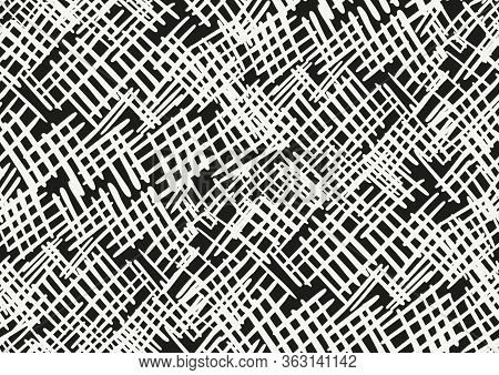 Vector Seamless Pattern With Hand Drawn Brush Strokes And Stripes Hand Painted. Black And White