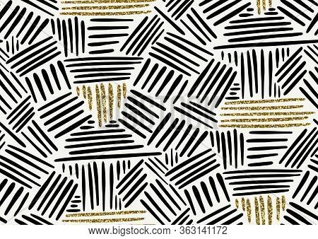Vector Seamless Pattern With Hand Drawn Gold Glitter Textured Brush Strokes And Stripes Hand Painted