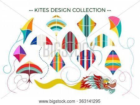 Colourful Ornate Sky Kites Set. Flat Design Vector