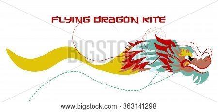 Colourful Flying Dragon Kite. Flat Design Vector Illustration