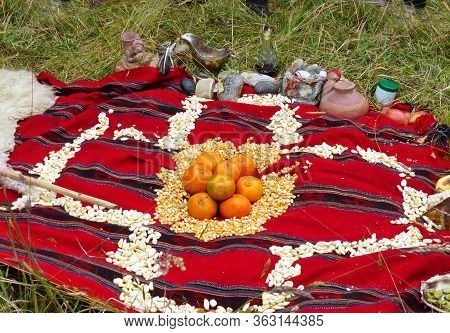 Chacana (chakana) Or Ceremony In Homage To Pachamama (mother Earth) - Is An Aboriginal Ritual Of The