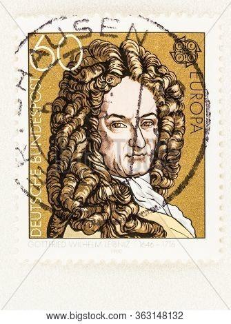 Seattle Washington - April 25, 2020: 1980  Germany Europa Cept Stamp Featuring Gottfried Leibniz Of