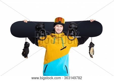 White Isolated Background With Snowboard Male Snowboarder Banner