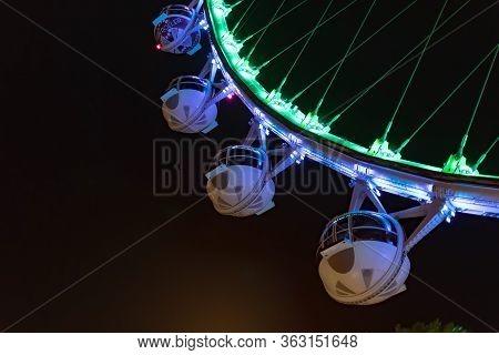 High Roller Ferris Wheel At The Las Vegas Strip During Night, Las Vegas Nevada Usa, March 30, 2020