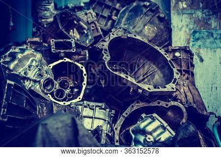 Old Machine Parts In Warehouses. Car Parts In Old Warehouses. Used Vehicle Part For Recycling In The