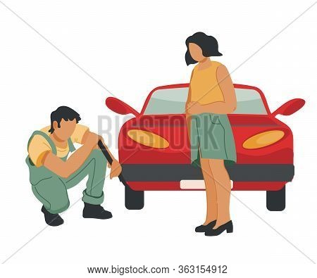 Car Repair, Roadside Assistance Or Towing Service Concept With Repairman Changing Wheel.