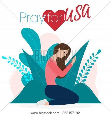 Praying Hands With Covid-19 Or Novel Coronavirus, Pray For Usa, Save Us People Concept, Sign Symbol