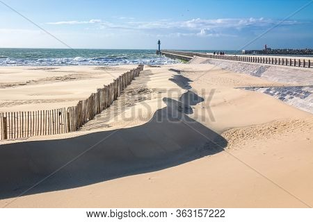 Beautiful Dunes And Beach Coastline, Sea Landscape Of Normandy Coast, France, Europe