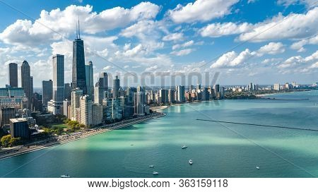 Chicago Skyline Aerial Drone View From Above, City Of Chicago Downtown Skyscrapers And Lake Michigan
