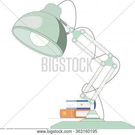 Vector Illustration Of A Fancy Office Lamp Standing On The Table With Books In The Background.