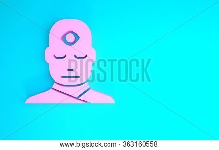 Pink Man With Third Eye Icon Isolated On Blue Background. The Concept Of Meditation, Vision Of Energ